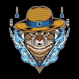 Gatto che indossa un cappello di paglia e ha un'illustrazione vettoriale dell'elemento acqua isolata su sfondo nero Vettore Premium