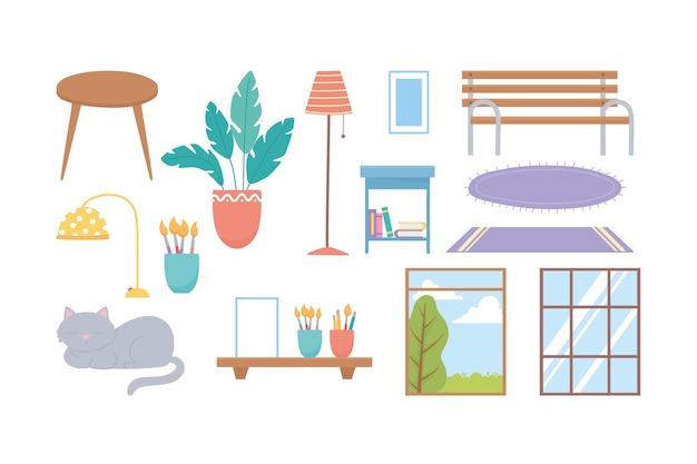 Insieme dell'icona della decorazione dei tappeti della lampada della pianta del banco delle finestre del gatto