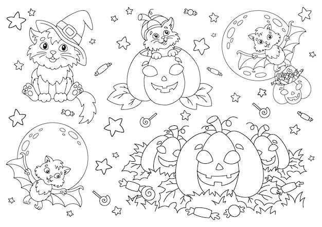 Gatto con cappello da strega pipistrello zucca caramelle tema di halloween pagina del libro da colorare per bambini