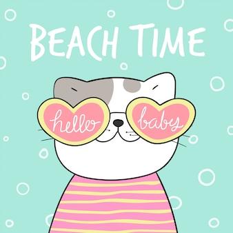 Gatto con simpatici occhiali a forma di cuore per l'estate.