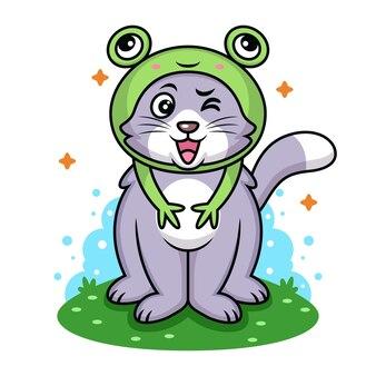 Gatto con il fumetto del costume della rana. icona animale illustrazione