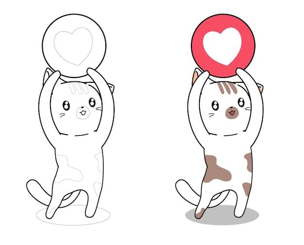 Gatto con la pagina di coloritura del fumetto dell'icona del cuore