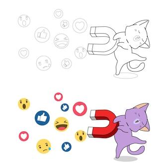 Gatto con magnete per la pagina da colorare dei cartoni animati di reazioni sociali