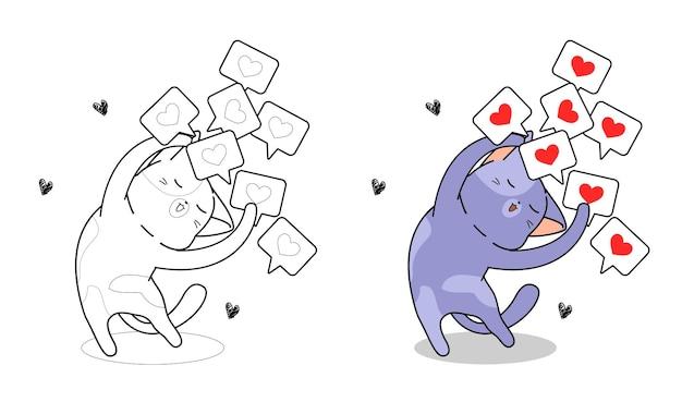 Gatto con molti cuore icona del fumetto da colorare pagina