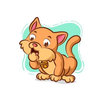 Gatto con collana che lecca il suo pedone per pulirlo