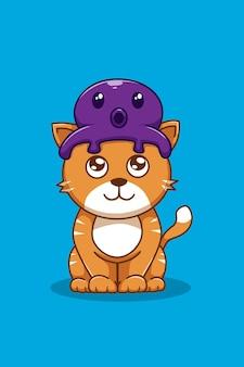 Gatto con illustrazione di cartone animato polpo