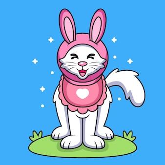 Gatto con il fumetto del costume del coniglio. icona animale illustrazione