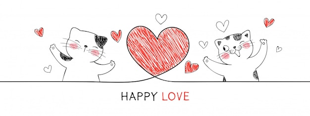 Gatto con cuore rosso per san valentino.
