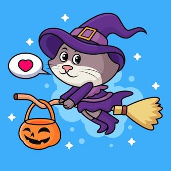 Gatto con il fumetto del costume della strega. icona animale illustrazione