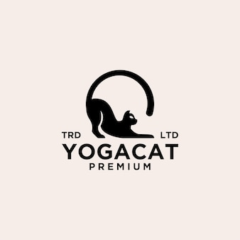 Cat yoga posa logo vintage icon yoga