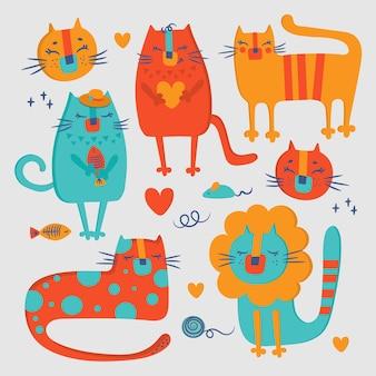 Gatto zoo san valentino amore disegnato a mano design piatto cartoon carino animale illustrazione vettoriale clip art per la stampa