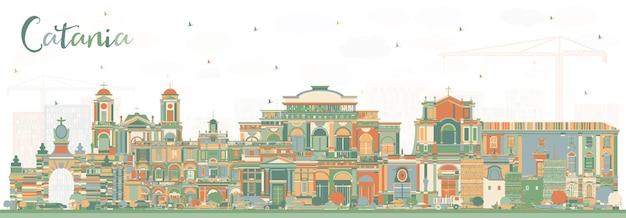 Orizzonte della città di catania italia con edifici di colore. illustrazione di vettore. viaggi d'affari e concetto di turismo con architettura storica. paesaggio urbano di catania sicilia con punti di riferimento.