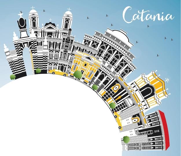 Orizzonte della città di catania italia con edifici grigi, cielo blu e spazio di copia. illustrazione di vettore. viaggi d'affari e concetto di turismo con architettura storica. paesaggio urbano di catania sicilia con punti di riferimento.