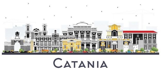 Orizzonte della città di catania italia con edifici grigi isolati su white