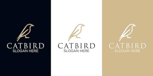 Modello di progettazione di logo di arte di linea catbird