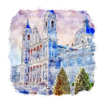 Illustrazione disegnata a mano di schizzo dell'acquerello di catedral madrid spagna