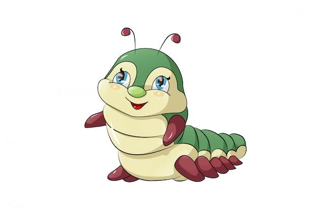 Caterpillar cartoon divertente isolato su sfondo bianco