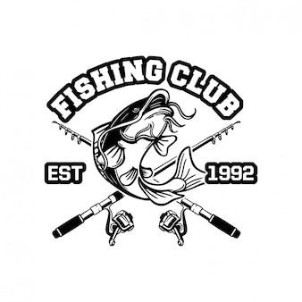 Il pesce gatto salta in bianco e nero per il logo o il badge del club di pesca del segno