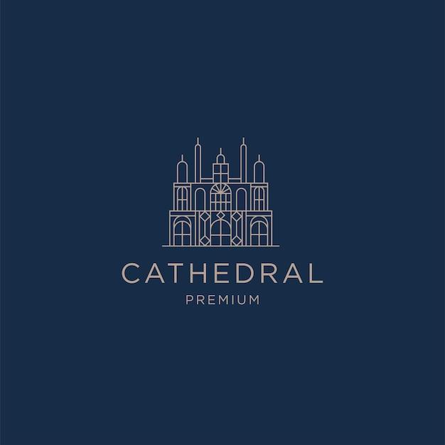 Vettore piatto del modello di progettazione dell'icona del logo della linea della cattedrale
