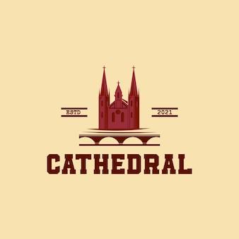 Vettore di design del logo della silhouette del palazzo della cattedrale, vettore del classico formato eps di design del logo della sala di castiglia, adatto alle vostre esigenze di progettazione, logo, illustrazione, animazione, ecc.