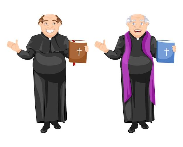 Il prete cattolico pastor tiene il vangelo
