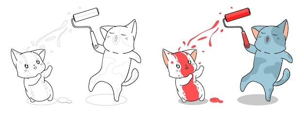 I gatti stanno dipingendo la pagina da colorare dei cartoni animati