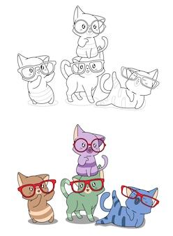 I gatti indossano occhiali da colorare cartone animato