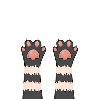 Sfondo di gatti, set di zampe del fumetto del gattino, illustrazione vettoriale