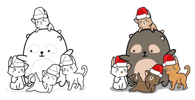 Gatti e orso pagina da colorare dei cartoni animati per bambini