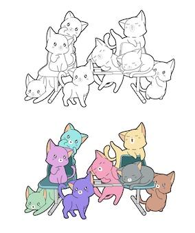 Pagina da colorare di gatti su una panchina per bambini