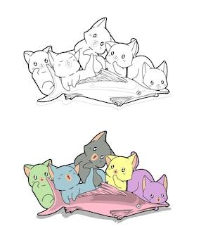 Pagina da colorare di cartoni animati di gatti e pesci grandi per bambini