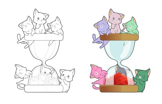 Pagina da colorare di cartoni animati di gatti e clessidra per bambini
