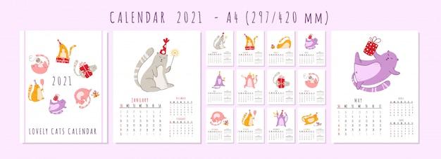 Calendario della festa di compleanno di gatti