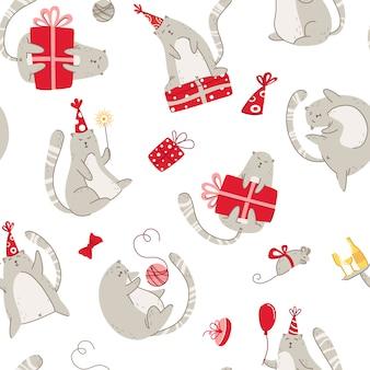 Modello senza cuciture della festa di compleanno dei gatti - il gattino divertente in cappello festivo, contenitori di regalo e regali, struttura senza fine di vettore