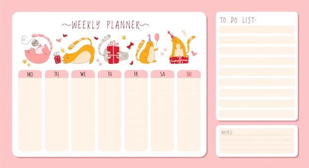 Pianificatore settimanale o giornaliero di compleanno di gatti con note e lista delle cose da fare. organizzatore personale di cancelleria per i piani quotidiani
