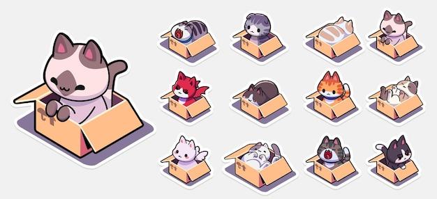 Set di adesivi con gatti in scatole per set di badge con gatti seduti in scatole di cartone