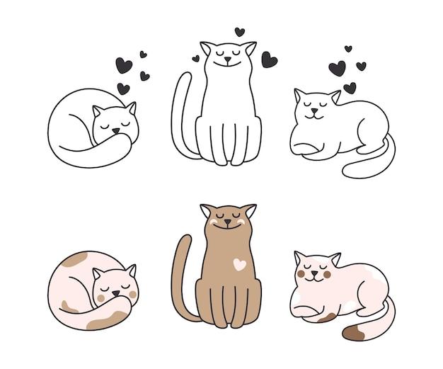 Collezione di gatti. gattino di doodle di linea, simpatici animali isolati. animali in amore illustrazione vettoriale