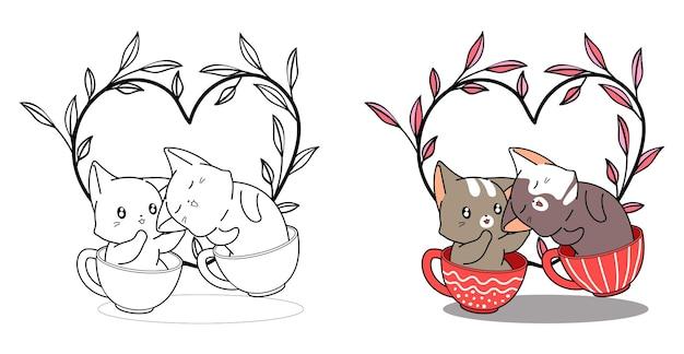 Gatti nella tazza per la pagina da colorare dei cartoni animati di san valentino per bambini