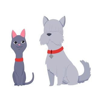 Gatti e personaggi di cani migliori amici felici