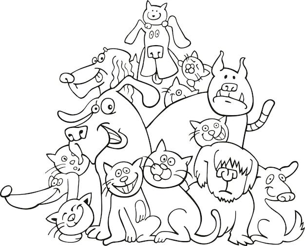 Gatti e cani per la colorazione