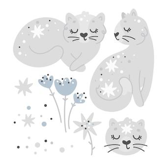 Set di gatti e fiori, simpatici elementi della scuola materna, stampa per bambini