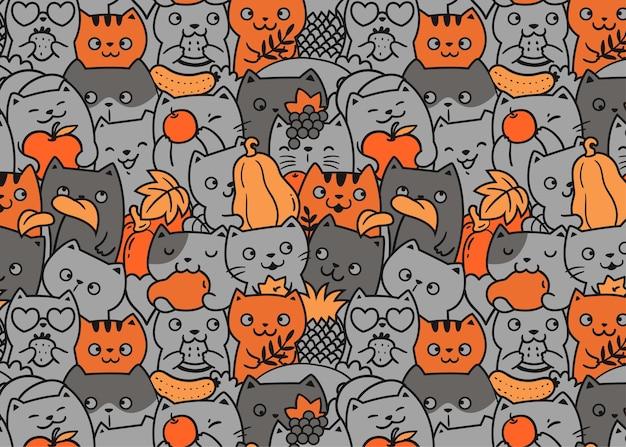 Fondo del modello di doodle di gatti e frutta
