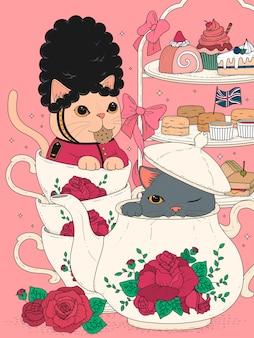 Gatti che mangiano tè pomeridiano britannico, deliziosi snack e set da teiera