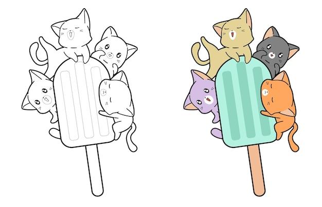 Pagina da colorare di cartoni animati di gatti e gelati per bambini