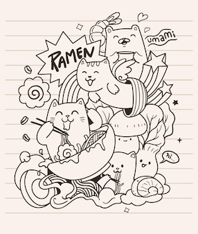 I gatti adorano il doodle di spaghetti ramen
