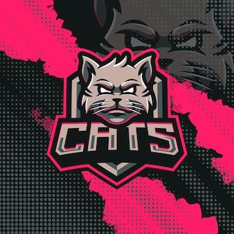 Illustrazione di progettazione di logo della mascotte dei gatti