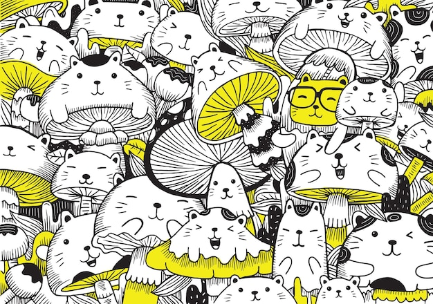 Gatti e funghi doodle illustrazione in stile cartone animato piatto