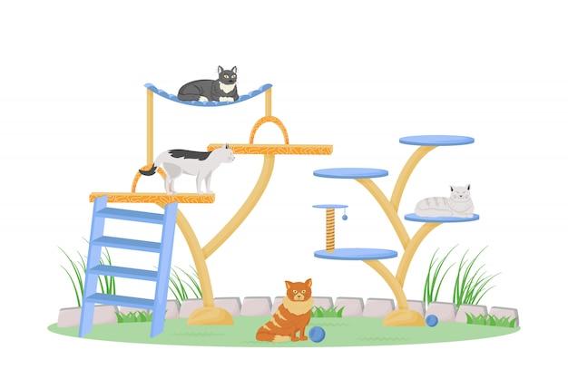 Cats on play tower personaggio a colori piatti