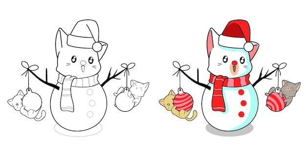 Pagina da colorare di cartoni animati di gatti e gatto delle nevi per bambini