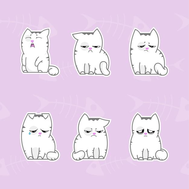 Pacchetto di adesivi con illustrazione vettoriale di gatti